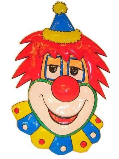 Deco clown hoofd met hoed 70cm