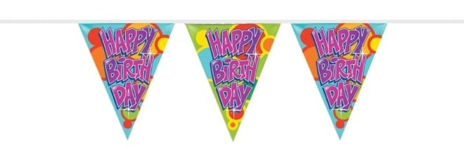 Vlaggenlijn PE Happy birthday 10 meter