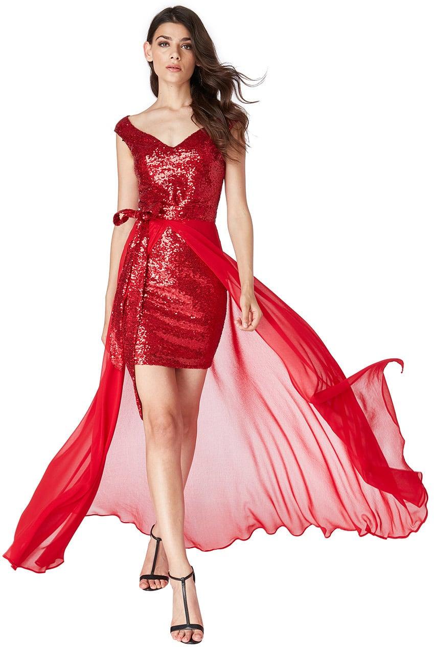 Lange Met Rode GlittersDe Feestjurk Galazaak v0NnwOm8