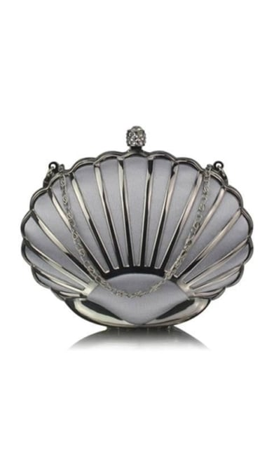 Clutch zilver in schelpvorm