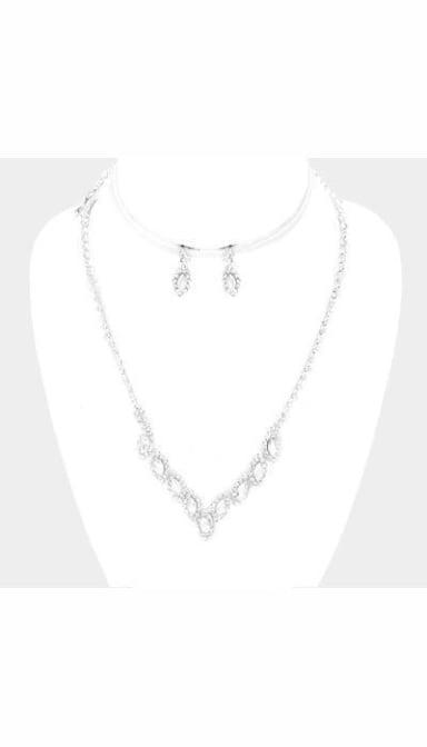 Set Ketting + Oorbellen zilver  3701
