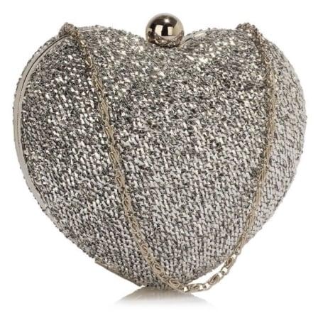 Clutch hartvormig zilver 2808