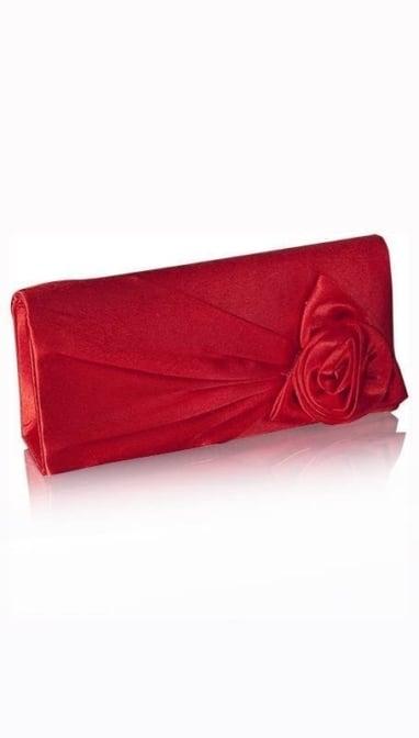 Rode  satijnen clutch  3490