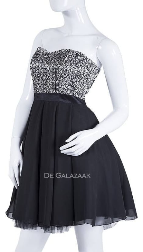 Cocktailjurk in zwart zilver 2172 - Lasense galajurken en cocktailjurken