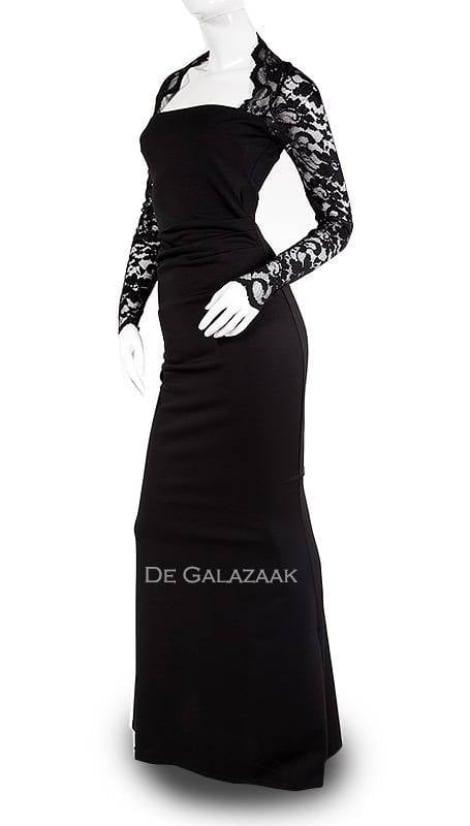 Galajurk in zwart mouw 2338 - City Goddess galajurken en cocktailjurken