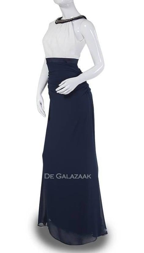 Galajurk wit en nachtblauw - Lasense galajurken en cocktailjurken