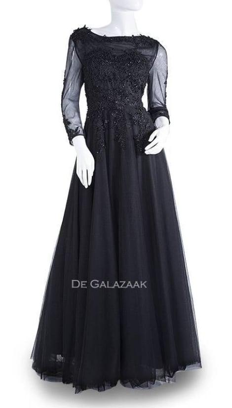 Galajurk zwart met mouwen  2738 - Juju & Christine galajurken en cocktailjurken