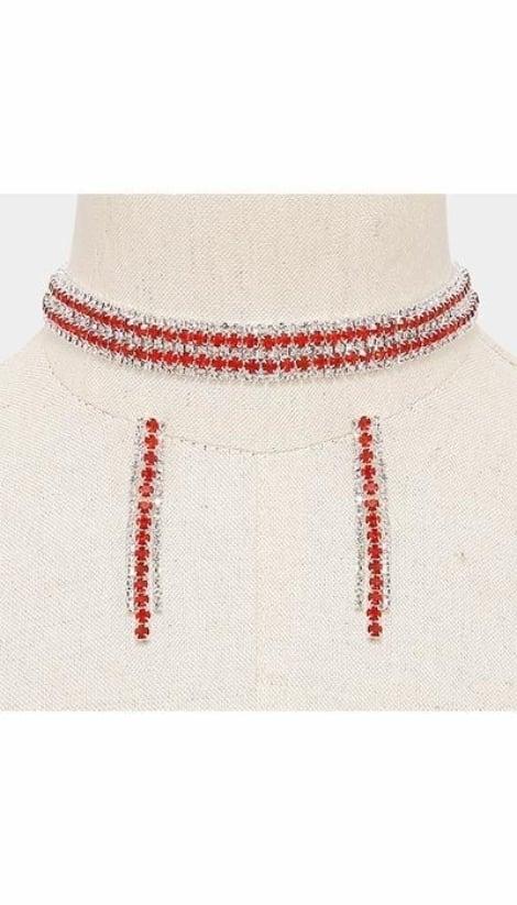 Set Ketting + Oorbellen rood  3068 - GLZK sieraden