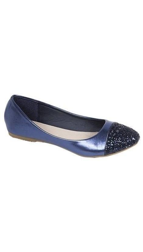 Ballerina's metallic blauw - GLZK-schoenen