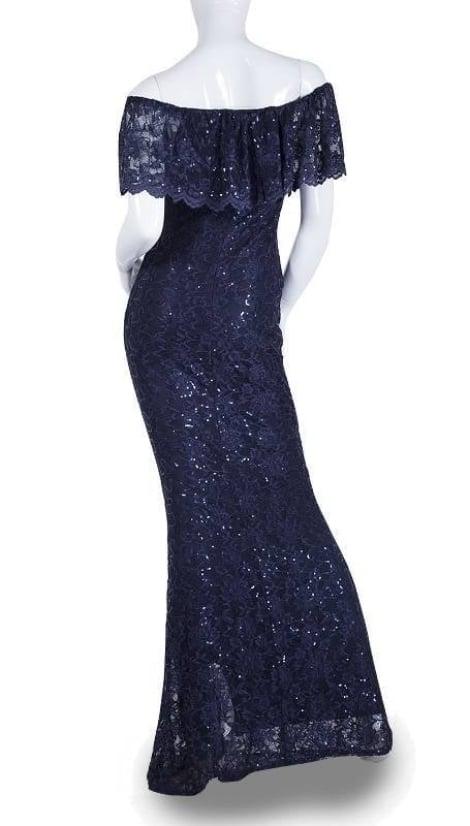 Navy blauwe off-shoulder galajurk - City Goddess galajurken en cocktailjurken