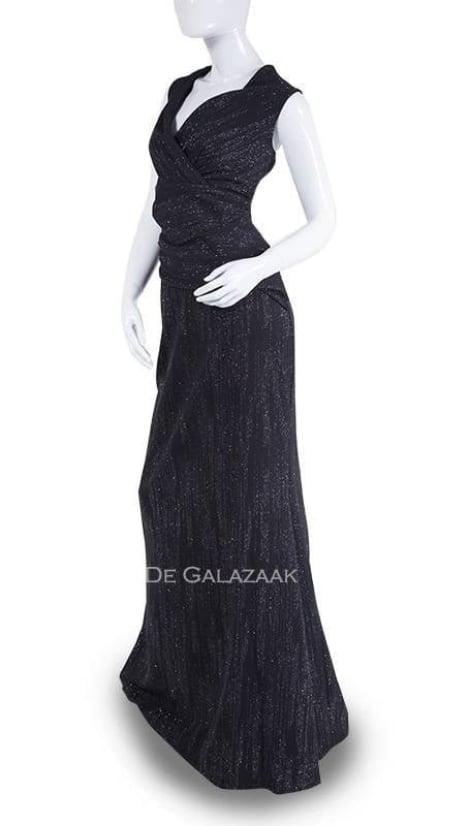 Zwarte aangesloten galajurk  3589 - City Goddess galajurken en cocktailjurken