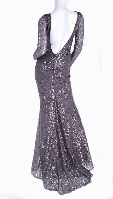 Zilveren jurk lage rug 3600 - City Goddess galajurken en cocktailjurken