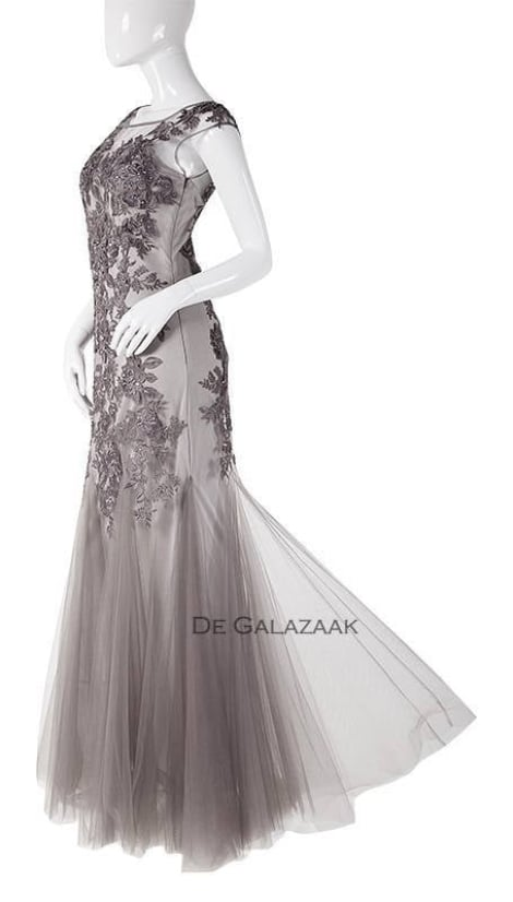 Fishtail jurk zilvergrijs  3727 - Mascara galajurken