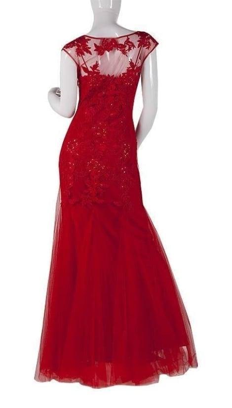 Fishtail lange jurk rood 3729 - Mascara