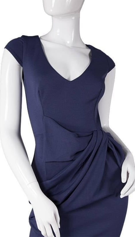 Navy blauwe lange jurk  3736 - City Goddess