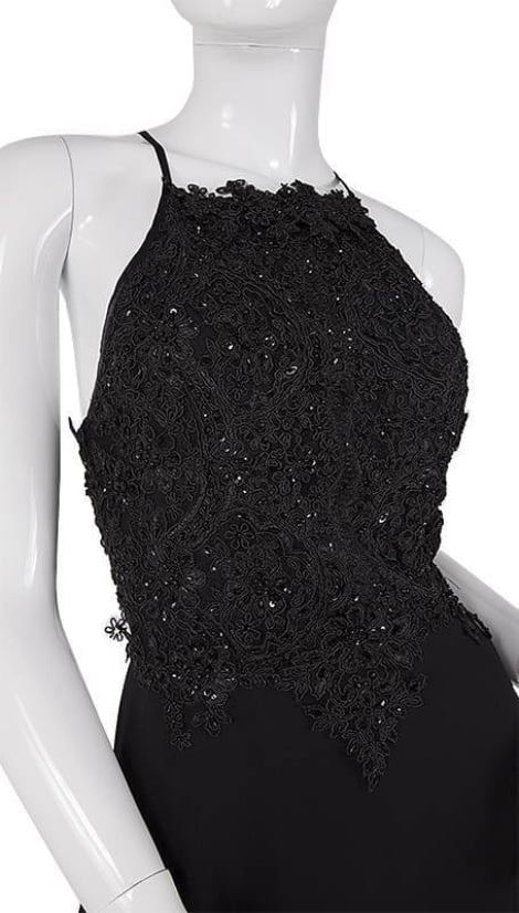 Zwarte lange avondjurk 3744 - Lasense