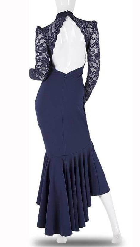 Lange feestjurk in blauw 3748 - City Goddess