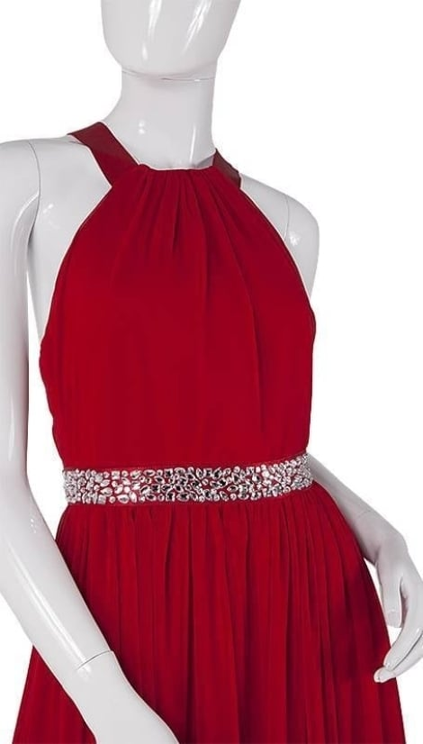 Rode feestjurk met haltersluiting en blote rug 3750 - City Goddess galajurken en cocktailjurken