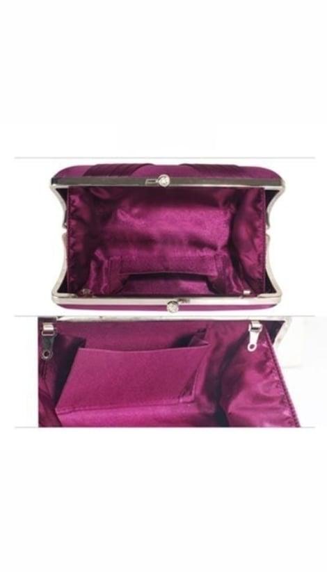 Paarse clutch van satijn 3756 - GLZK tasjes en clutches