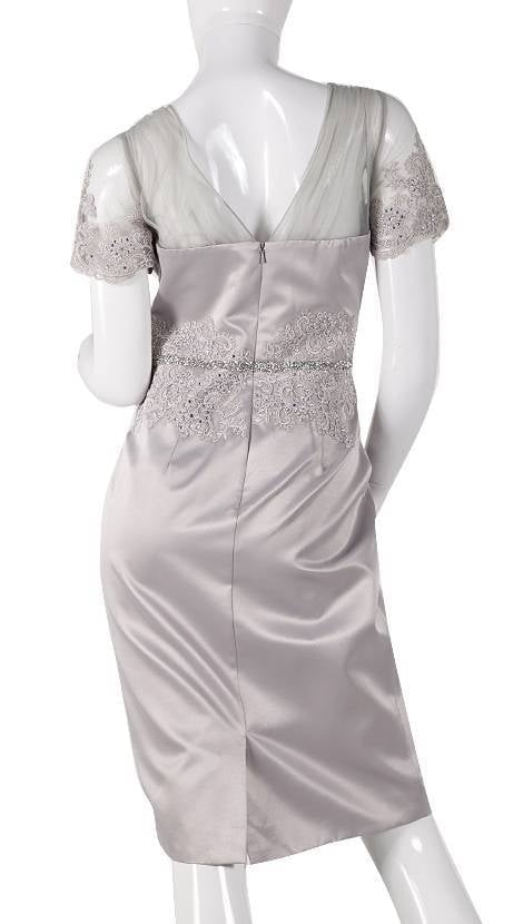 Zilvergrijs kleurig pakje bruiloftsgast  3805 - Mascara galajurken