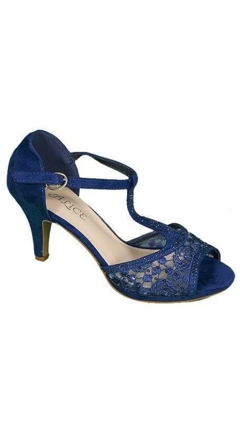 Blauwe peep toe Pumps 3646 - GLZK-schoenen