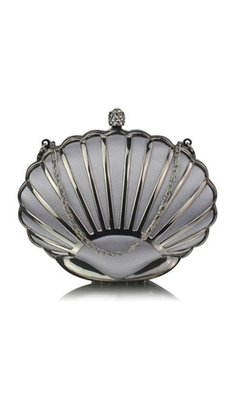 Clutch zilver in schelpvorm 3833 - GLZK tasjes en clutches