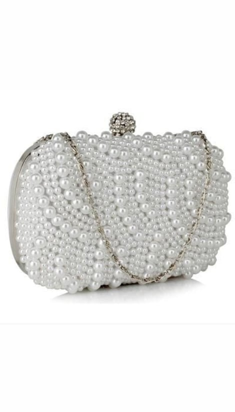Clutch wit met parels 3432 - GLZK tasjes en clutches
