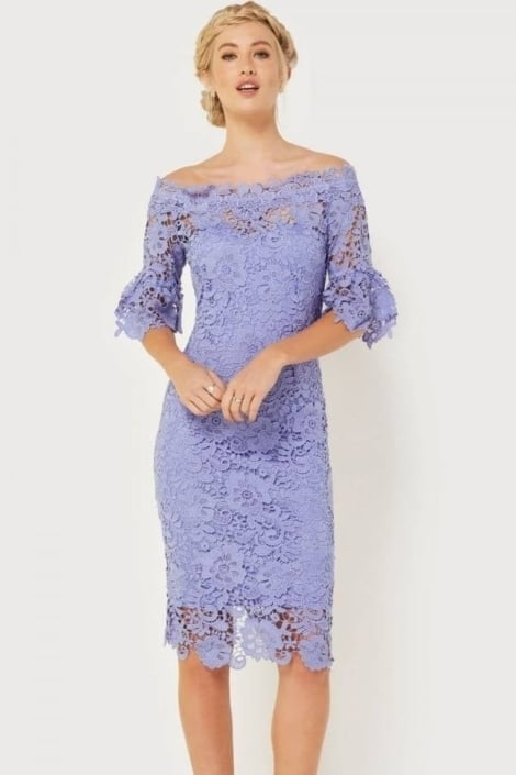 Cocktailjurk  off-shoulder in lavendel  3132 - Little Mistress