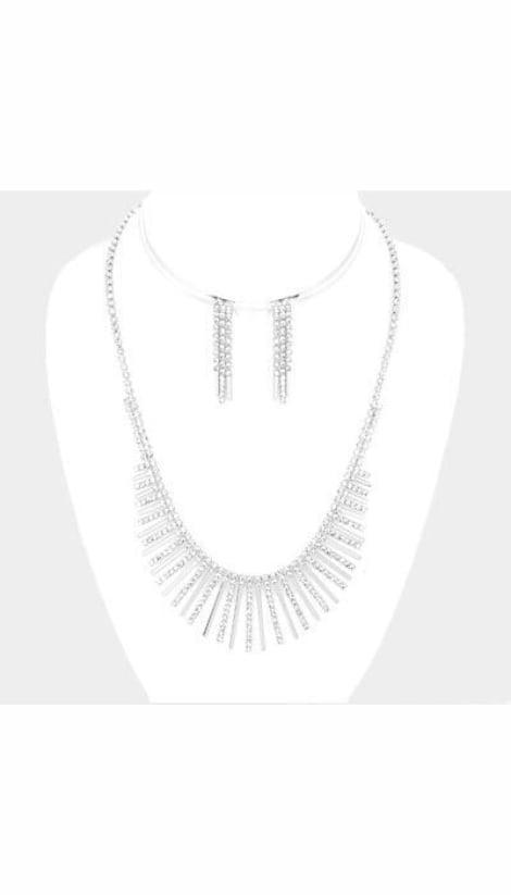 Set Ketting + Oorbellen zilver  3703 - GLZK sieraden