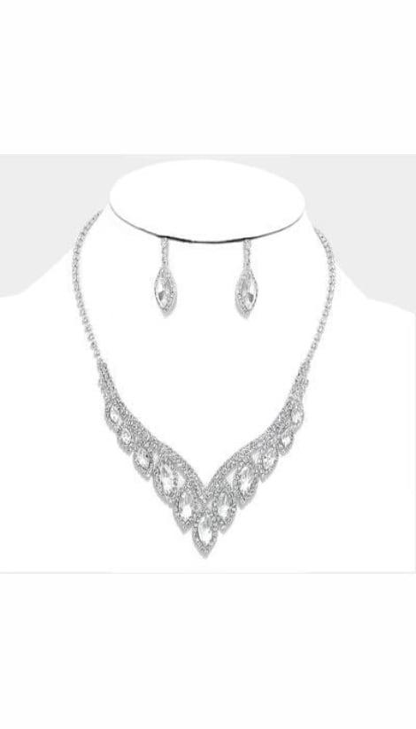 Set Ketting + Oorbellen zilver  3430 - GLZK sieraden