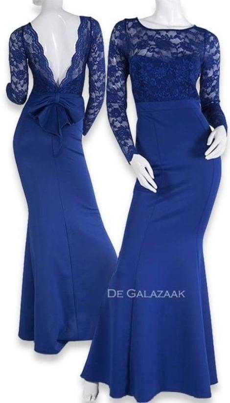 Galajurk blauw met mouw  3396 - City Goddess galajurken en cocktailjurken