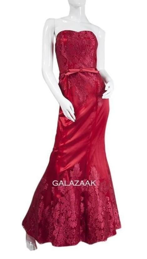 Galajurk strapless in bordeaux-rood  3238 - Juju & Christine galajurken en cocktailjurken