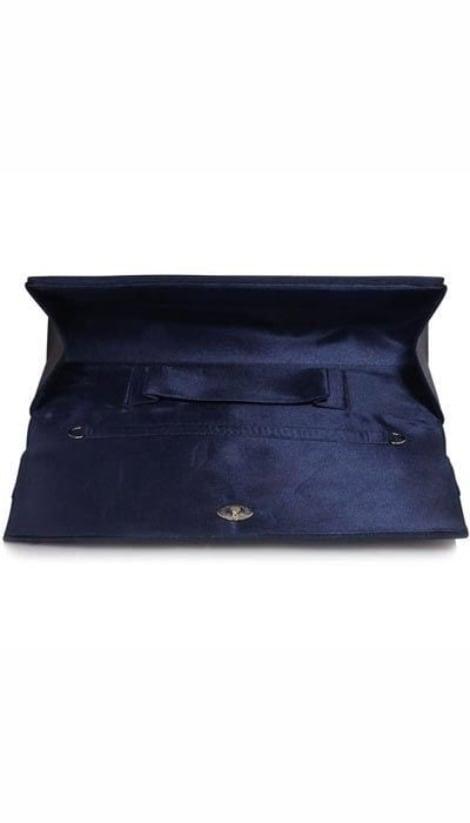 Grote navy-blauwe satijnen clutch  2944 - GLZK tasjes en clutches