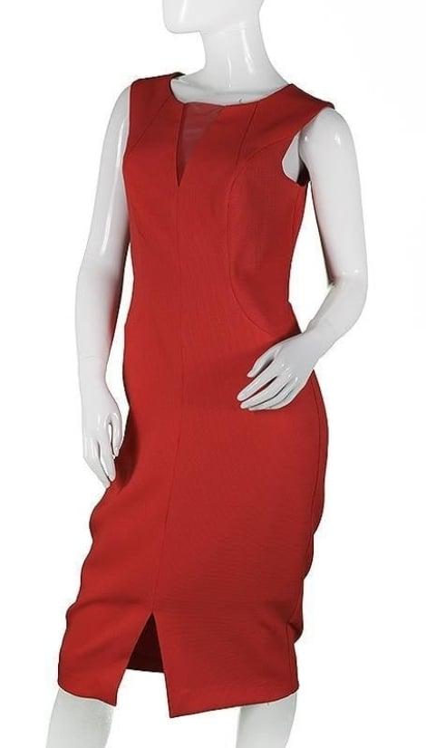 Feestjurk in koraal-rood  3666 - Sonia Pena moeder van de bruid jurken