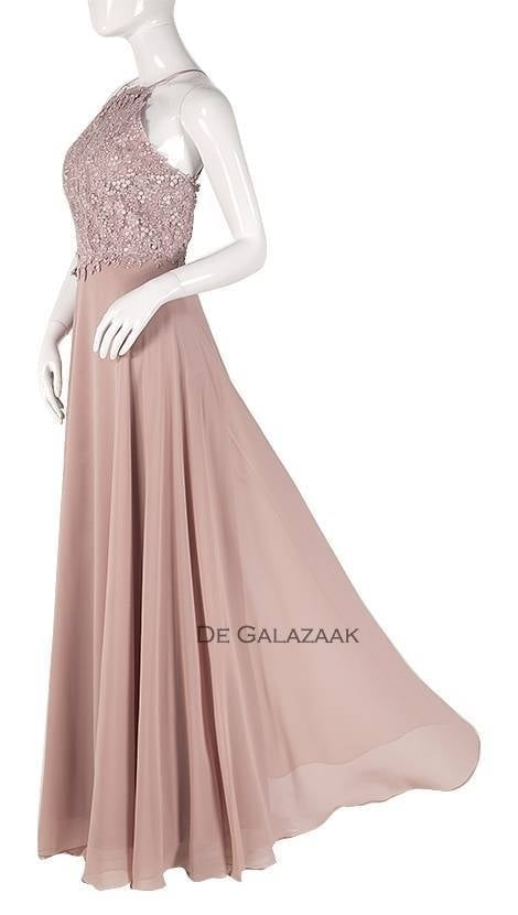 Roze lange jurk met blote rug  3760 - Lasense galajurken en cocktailjurken