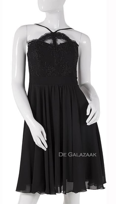 Little black dress met kanten top  3742 - Lasense