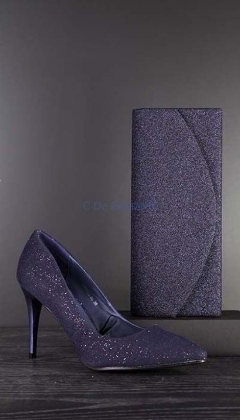 Blauwe glitter Pumps - GLZK-schoenen