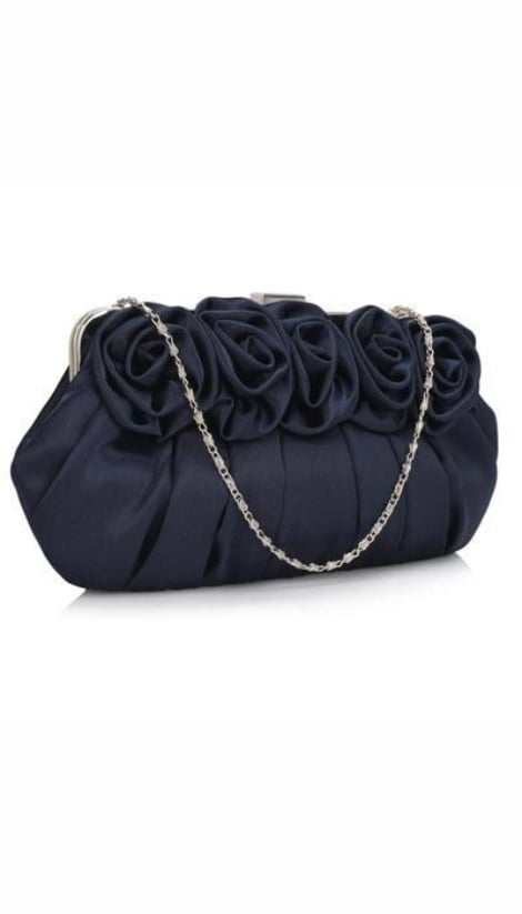 Clutch navy satijnen roosjes 3150 - GLZK tasjes en clutches