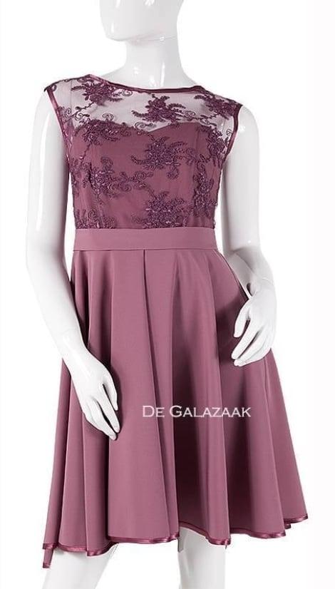 Feestjurkje in oud roze met kanten top  3739 - Lasense