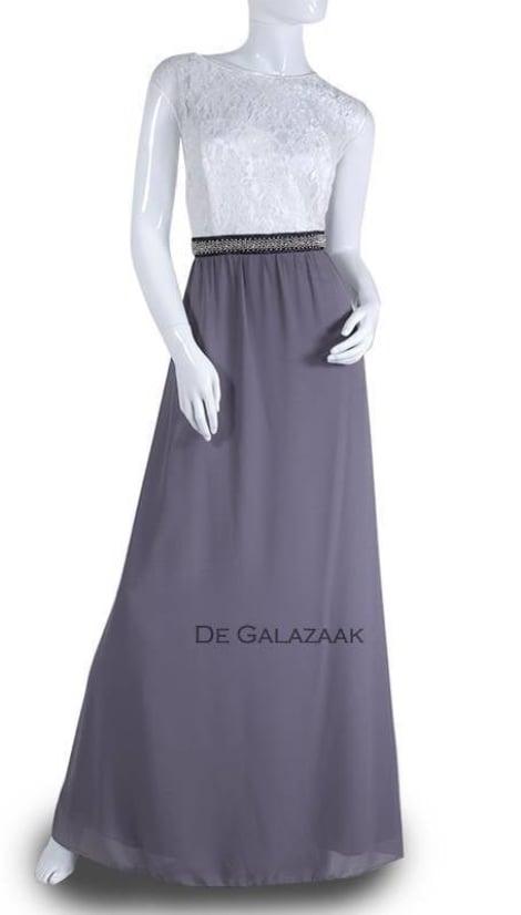 Lange jurk met kanten top  3523 - Lasense galajurken en cocktailjurken