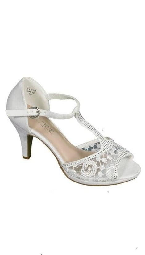 Witte peep toe Pumps 3647 - GLZK-schoenen