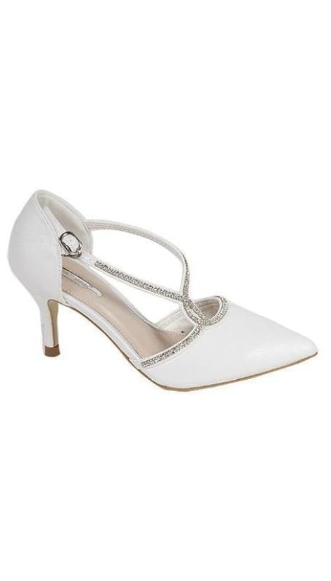 witte pumps met strass decoratie 2205 - GLZK-schoenen