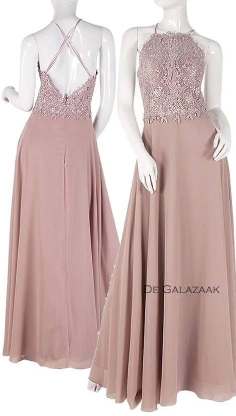 14d7fe69165afc Roze lange jurk met blote rug 3760 - Lasense galajurken en cocktailjurken