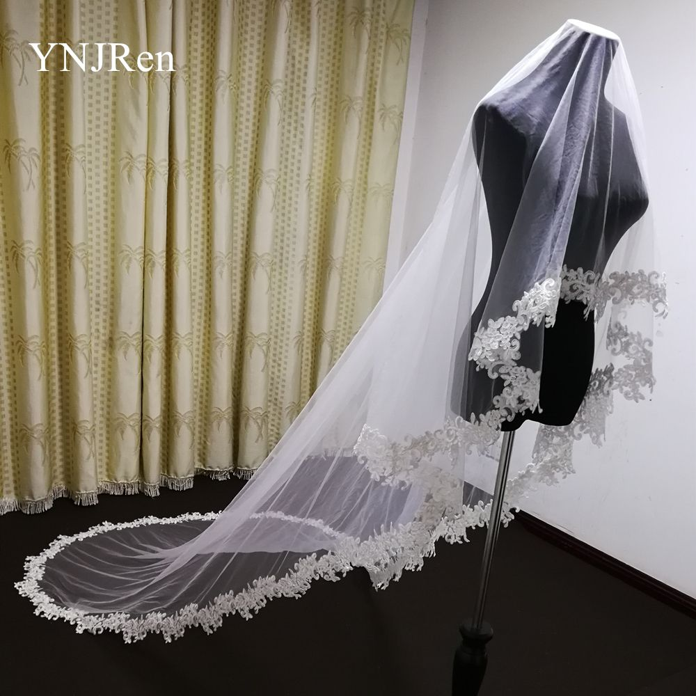Veil With Comb White Lace Edge Bridal Veils Appliqued Cathedral Wedding Veil