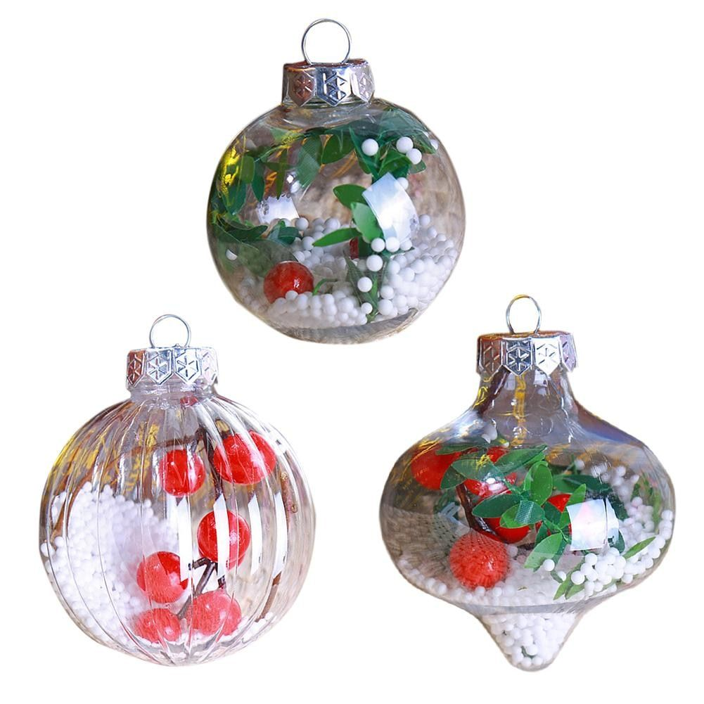 Christmas Tree Balls.Details About Christmas Tree Balls Bauble Transparent Plastic Sphere Ornament Gift Xmas Decors