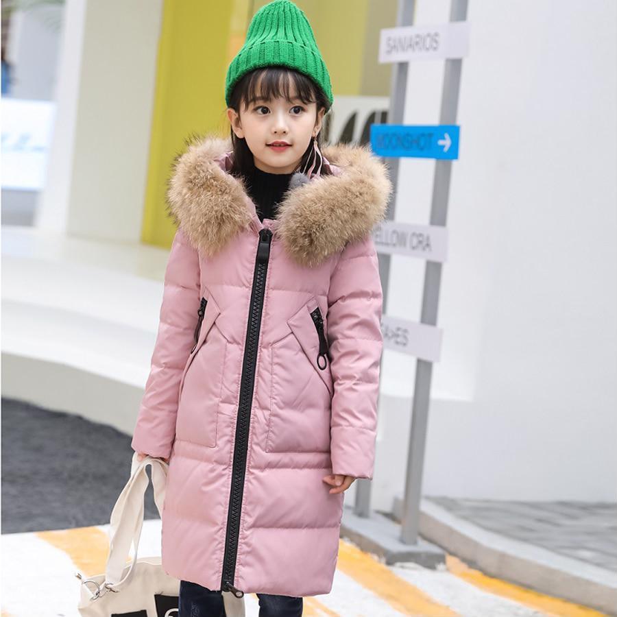 2ed5d3e87 Winter Jacket Fur Thick Warm Coats Long Outerwear Girls Children ...