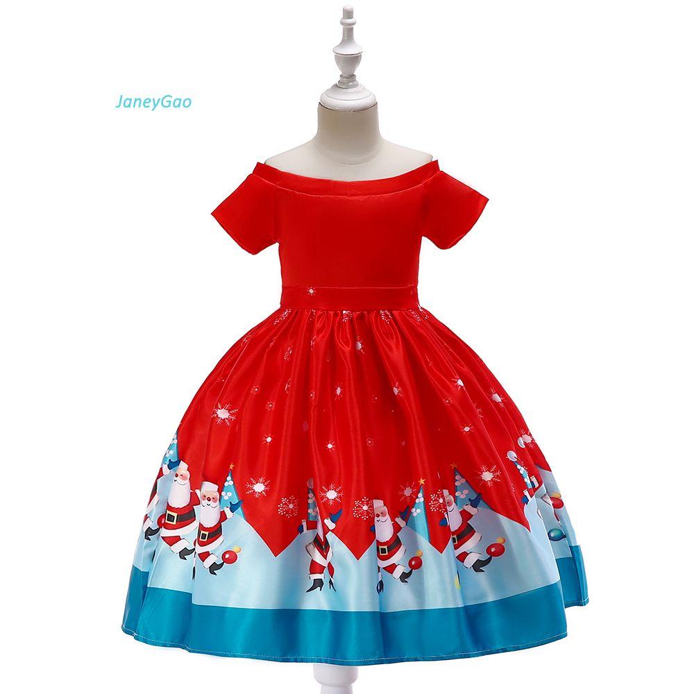 Toddler Christmas Dresses.Details About Christmas Dress Santa Prints Short Sleeve Gown Girls Children Party Clothes Wear
