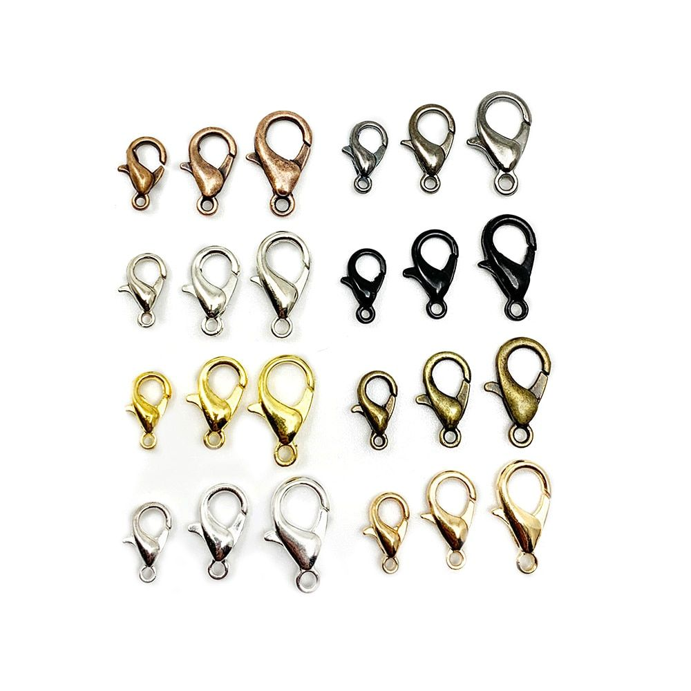 50Pcs Alloy Lobster Clasp Hooks for DIY Necklace Bracelet Chain Jewelry Making#