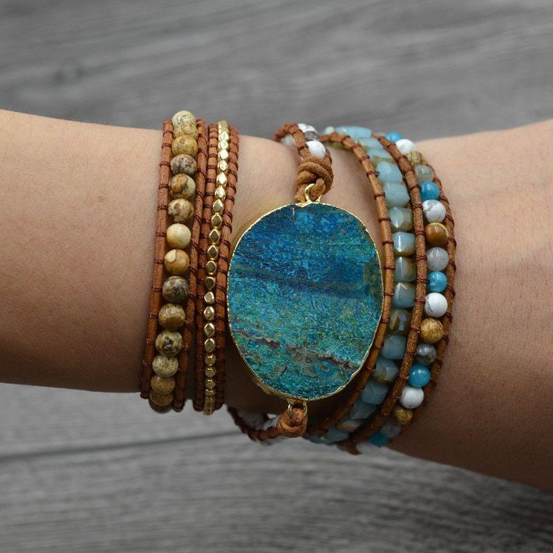 Bohemian Ocean Jasper Stone Bracelet Gypsy Chic Leather Wrap Beaded Bangle USA