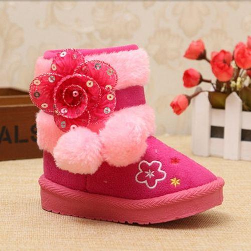 Details about Baby Girls Warm Cotton Shoes Children Snow Boots Kids  Princess Boots